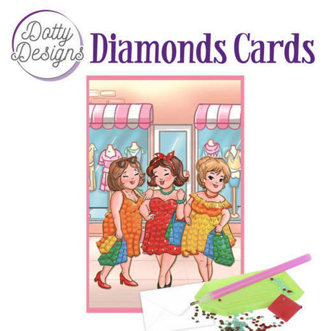 Dotty Designs - Bubbly Girls Shopping (O)(P), Timanttityökortti, 10x15cm