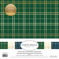 Carta Bella - Holiday Plaid Gold Foil, Collection Kit 12