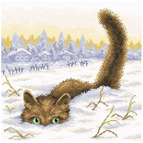 BrilliArt - Cat in The Snow (K)(N), Timanttimaalaus, 38x38cm