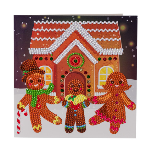Craft Buddy - Gingerbread Family (O)(P), Timanttityökortti, 18x18cm