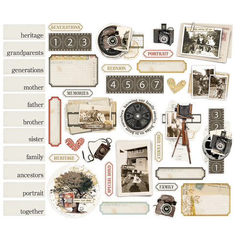 Simple Stories - Simple Vintage Ancestry Portrait Bits & Pieces Die-Cuts, 41 osaa