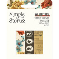 Simple Stories - Simple Vintage Ancestry, Washi Tape, 3 rullaa