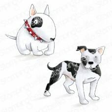 Stamping Bella - Staffie & English Bull Terrier, Leimasetti