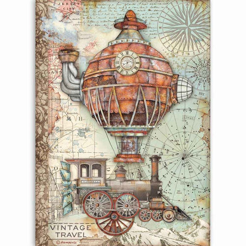 Stamperia - Sir Vagabond, Rice Paper, A4, Vintage Travel