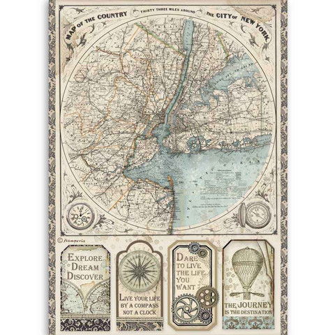 Stamperia - Sir Vagabond, Rice Paper, A4, Map of New York