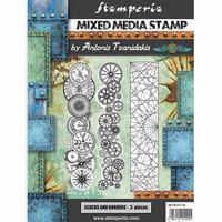 Stamperia - Mixed Media Stamp, Sir Vagabond Steampunk Borders, Leimasetti