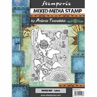 Stamperia - Mixed Media Stamp, Sir Vagabond Vintage Map, Leimasetti