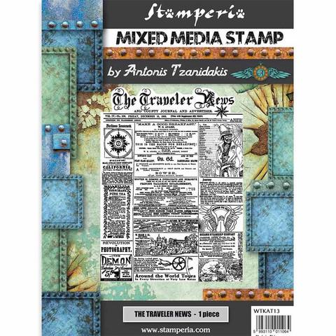 Stamperia - Mixed Media Stamp, Sir Vagabond The Traveler News, Leimasetti
