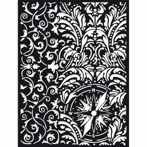 Stamperia - Sir Vagabond, Thick Stencil 15x20cm, Wallpaper and Compass