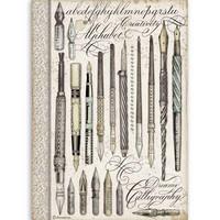 Stamperia - Rice Paper, A4, Vintage Pens