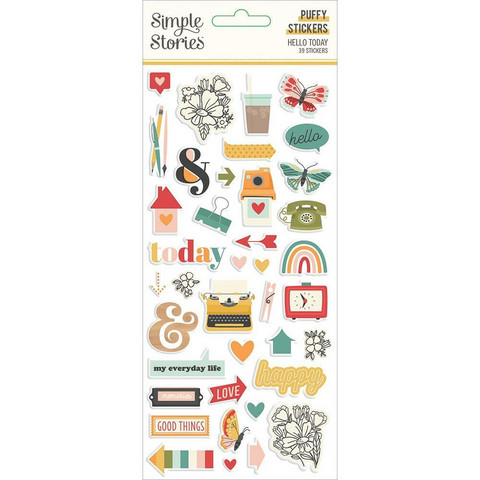 Simple Stories - Hello Today Puffy Stickers, Tarrasetti, 39osaa