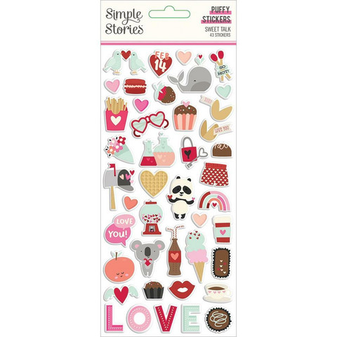 Simple Stories - Sweet Talk Puffy Stickers, 43osaa