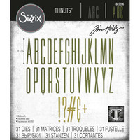 Sizzix - Thinlits Dies By Tim Holtz, Stanssisetti, Alphanumeric Stretch Upper