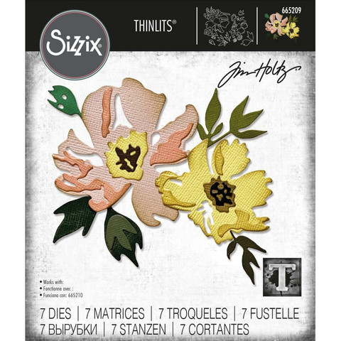 Sizzix - Thinlits Dies By Tim Holtz, Stanssisetti, Brushstroke Flowers #1