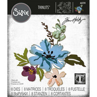 Sizzix - Thinlits Dies By Tim Holtz, Stanssisetti, Brushstroke Flowers #2