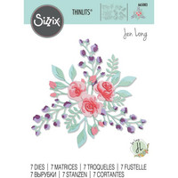 Sizzix -Thinlits Dies By Jen Long, Stanssisetti, Floral Layers #2