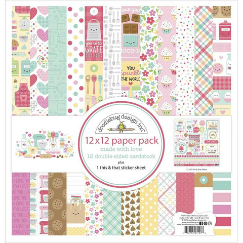 Doodlebug - Made With Love, Double-Sided Paper Pack 12