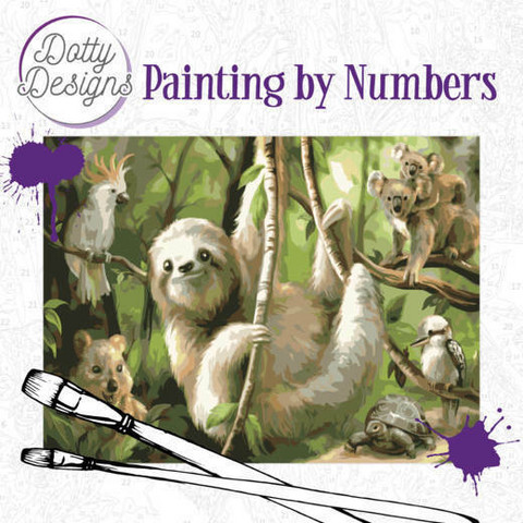 Dotty Design - Paint By Numbers 40x50cm, Sloth
