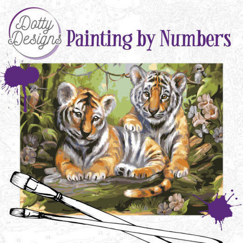 Dotty Design - Paint By Numbers 40x50cm, Tigers