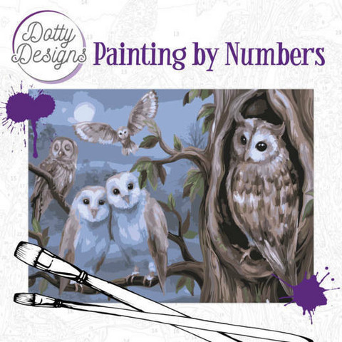 Dotty Design - Paint By Numbers 40x50cm, Amazing Owls