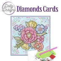 Dotty Designs - Pastel Flowers (O)(P), Timanttityökortti, 15x15cm