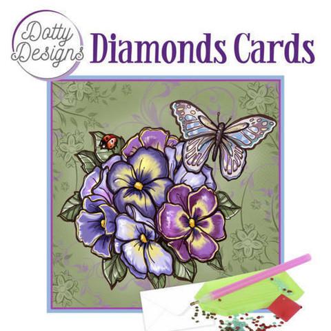 Dotty Designs - Purple Flowers (O)(P), Timanttityökortti, 15x15cm