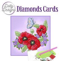 Dotty Designs - Red Flowers (O)(P), Timanttityökortti, 15x15cm