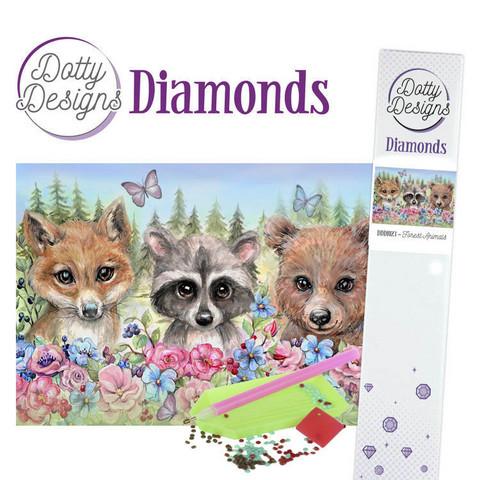 Dotty Designs - Forest Animals (K)(P), Timanttimaalaus, 30x42cm