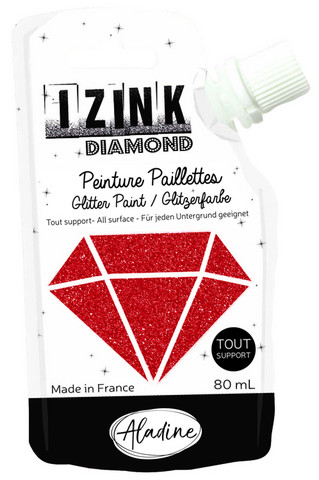 Aladine - IZINK Diamond, Red, Kimallemaali, 80ml