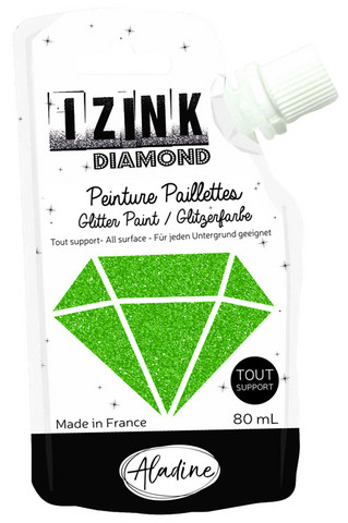 Aladine - IZINK Diamond, Dark Green, Kimallemaali, 80ml