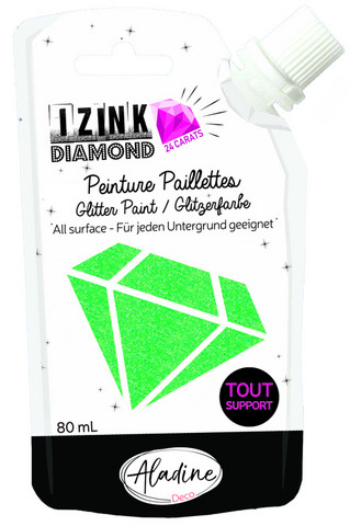 Aladine - IZINK Diamond, Light Green 24 Carat, Kimallemaali, 80ml