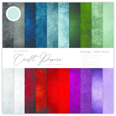 Craft Consortium - Essential Craft Papers, Grunge Dark Tones, 6
