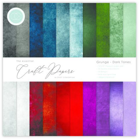 Craft Consortium - Essential Craft Papers, Grunge Dark Tones, 12