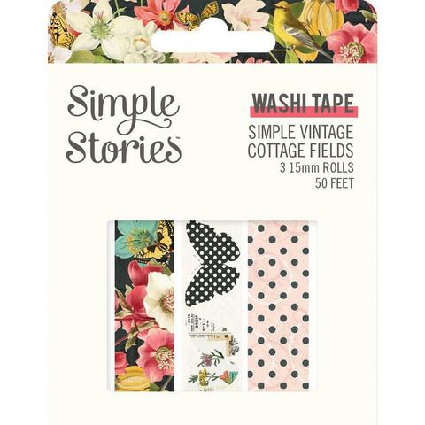 Simple Stories - Simple Vintage Cottage Fields, Washi Tape, 3 rullaa