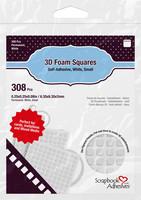 Scrapbook Adhesives - 3D Foam Squares, Tarrapaloja, Valkoinen, 2mm, 308kpl