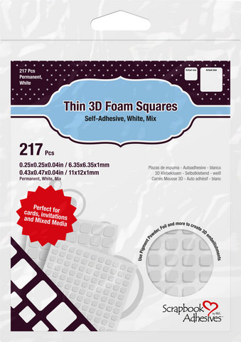 Scrapbook Adhesives - 3D Foam Squares, Tarrapaloja, Valkoinen, 1mm, 217kpl