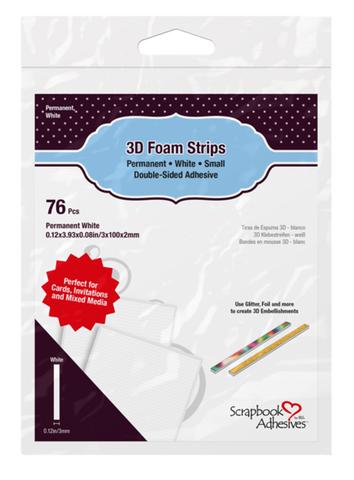 Scrapbook Adhesives - 3D Foam Strips, Tarrapaloja, Valkoinen, 2mm, 76kpl