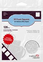 Scrapbook Adhesives - 3D Foam Squares, Tarrapaloja, Valkoinen, 2mm, 126kpl