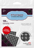 Scrapbook Adhesives - 3D Foam Squares, Tarrapaloja, Musta, 2mm, 126kpl