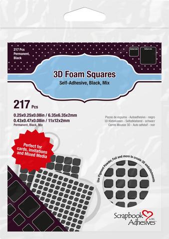Scrapbook Adhesives - 3D Foam Squares, Tarrapaloja, Musta, 2mm, 217kpl