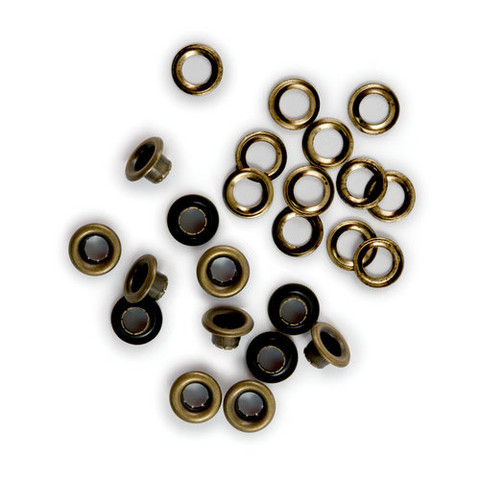 We R - Crop-A-Dile Eyelets and Washer, Eyelet-setti, Brass, 30kpl