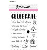 Studio Light - Clear Stamp Tekst Celebrate Essentials nr.521, Leimasetti