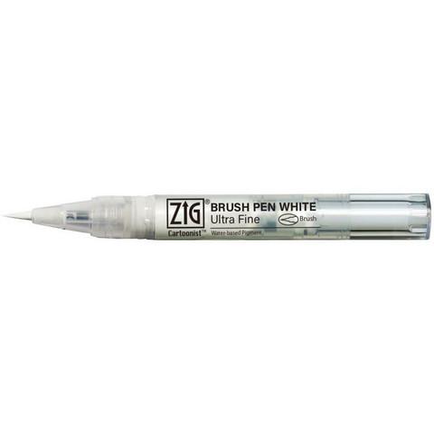 Kuretake - ZIG Cartoonist Brush Pen, Ultra Fine, Valkoinen