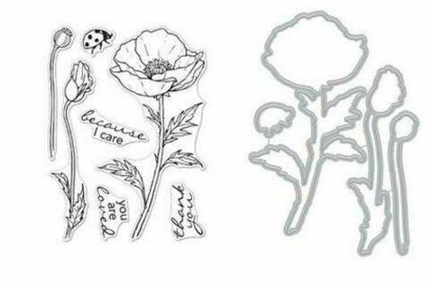Hero Arts - Hero Florals Poppy, Leima- ja stanssisetti