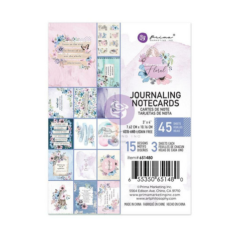 Prima Marketing - Watercolor Floral, Journaling Notecards, 3