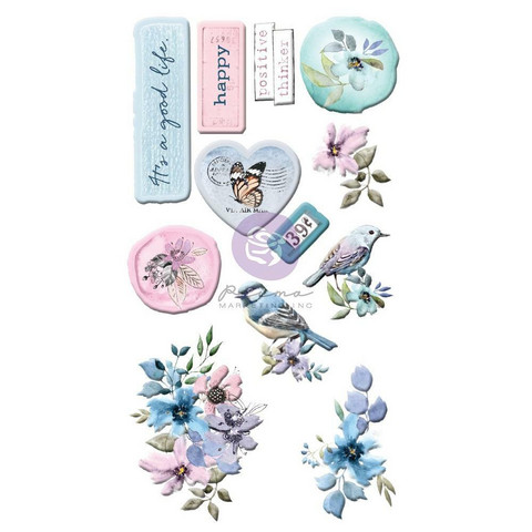 Prima Marketing - Watercolor Floral Puffy Stickers, 12osaa
