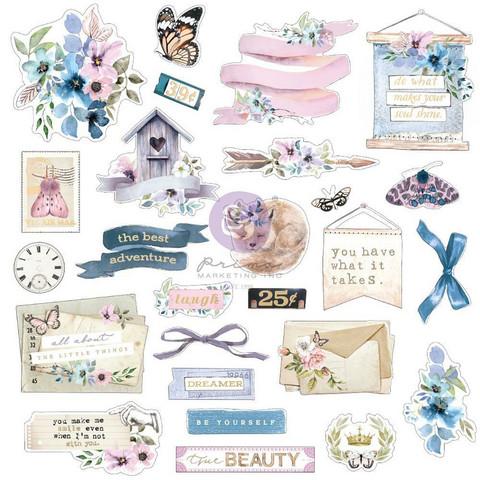 Prima Marketing - Watercolor Floral, Cardstock Ephemera, 25 osaa