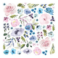 Prima Marketing - Watercolor Floral, Cardstock Ephemera, 62 osaa