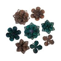 Prima Marketing - Mechanicals Metal Embellishments, Grungy Succulents, 8 osaa