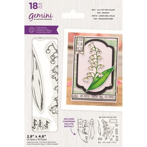 Gemini - Stamp & Die, May Lily of the Valley, Stanssi- ja leimasetti